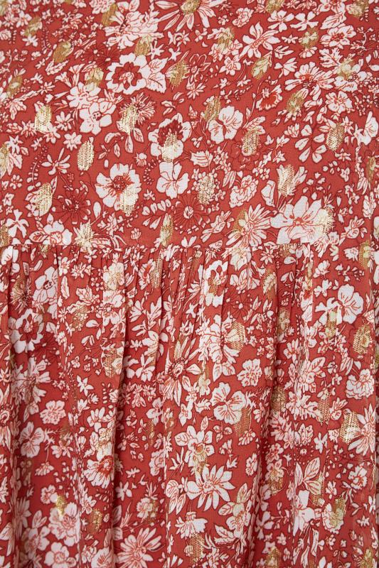 YOURS LONDON Rust Floral Batwing Sleeve Blouse_S.jpg