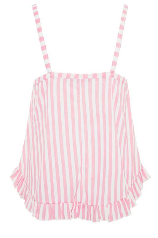 LIMITED COLLECTION Pink Stripe Frill Pyjama Top_bk.jpg