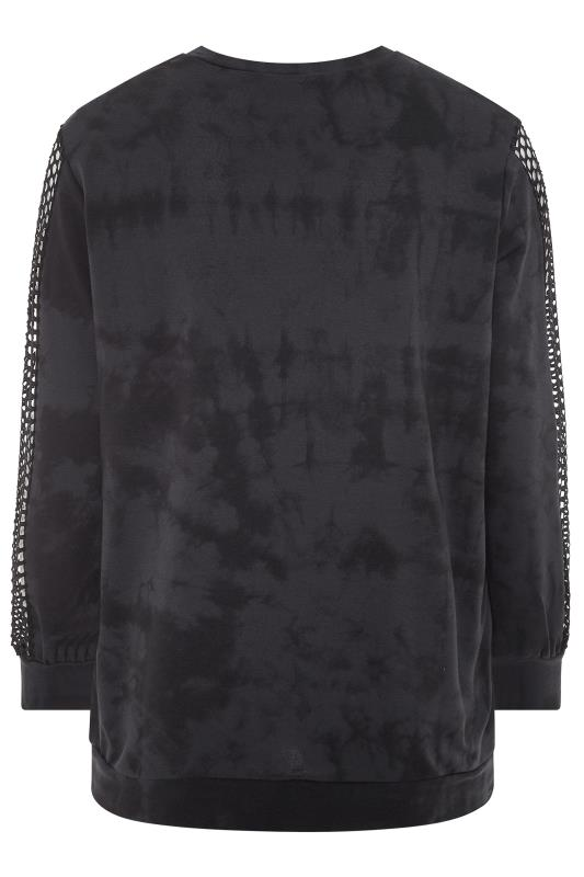 LIMITED COLLECTION Black Tie Dye Fishnet Sleeve Sweatshirt
