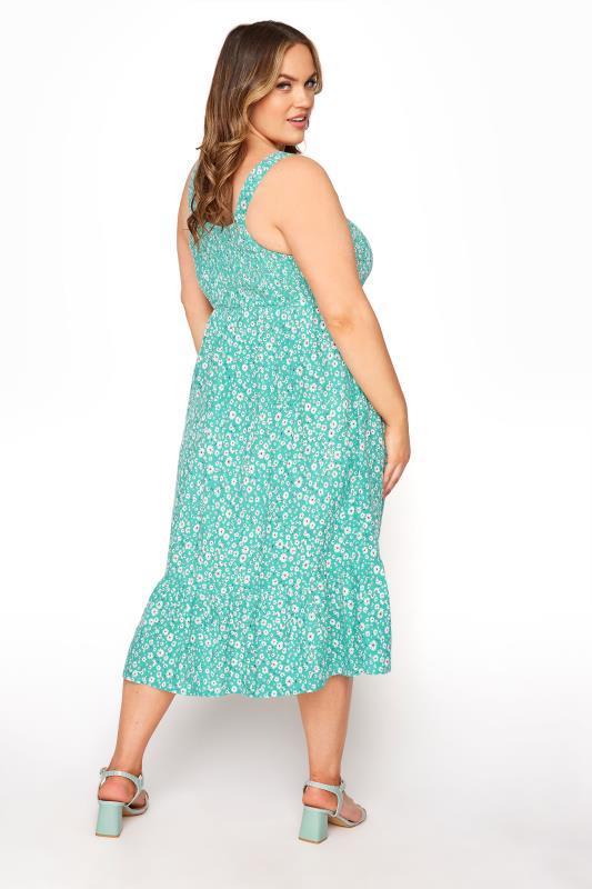 Green Floral Sleeveless Shirred Dress_C.jpg