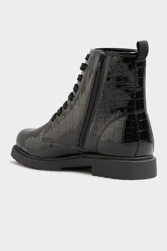 Black Patent Croc Chunky Lace Up Boots In Extra Wide Fit_D.jpg