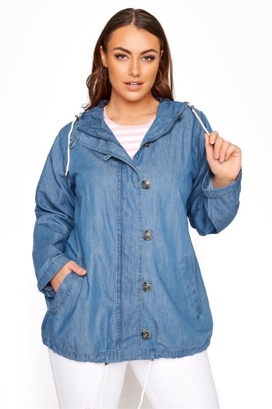 Plus Size  Blue Chambray Twill Jacket