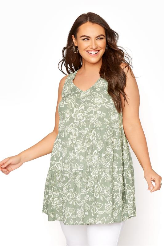 Plus Size  Sage Green Floral Print Sleeveless Tunic