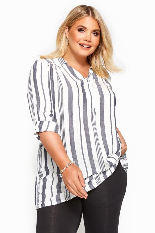 Plus Size Shirts White Stripe Overhead Shirt