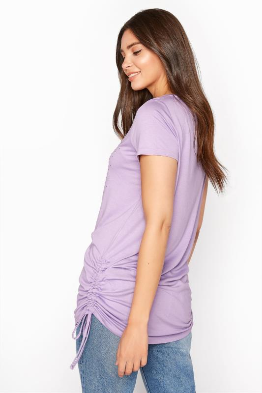 LTS Lilac 'I Love My Life' Ruched Side Tunic