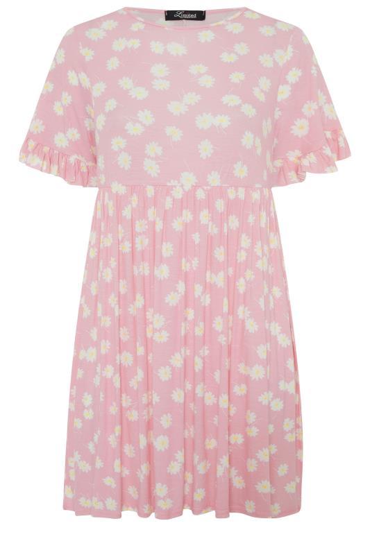 Pink Floral Print Short Frill Sleeve Dress_f.jpg