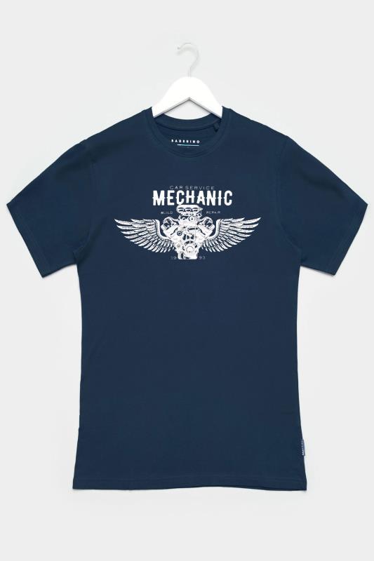 BadRhino Navy Mechanic Graphic Print T-Shirt