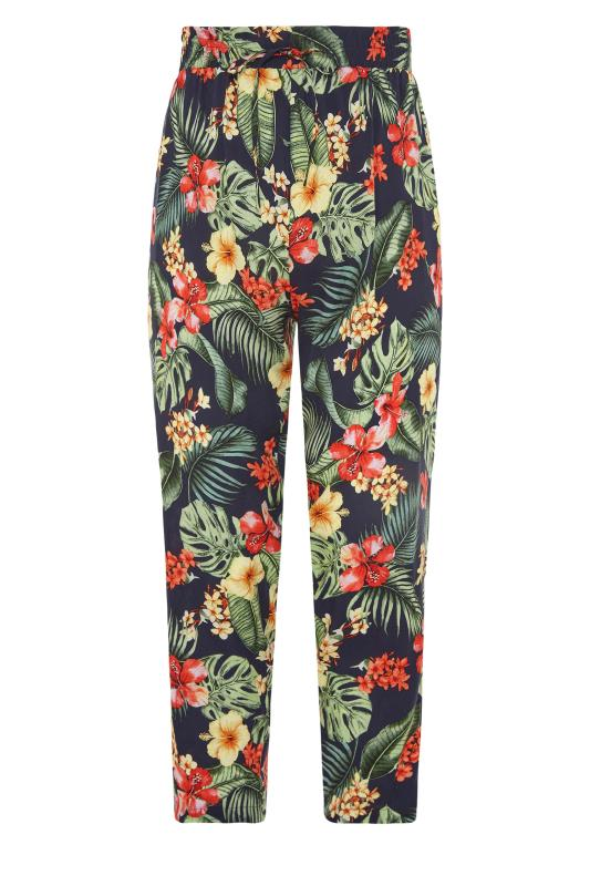 YOURS LONDON Black Tropical Tapered Harem Trousers_f.jpg