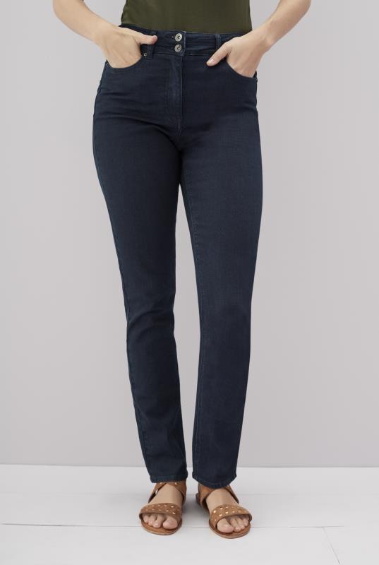 Dark Indigo High Rise Straight Jeans