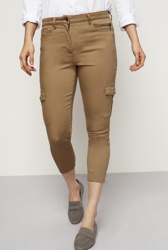 Tall Jeans Tan Skinny Fit Crop Combat Jeans