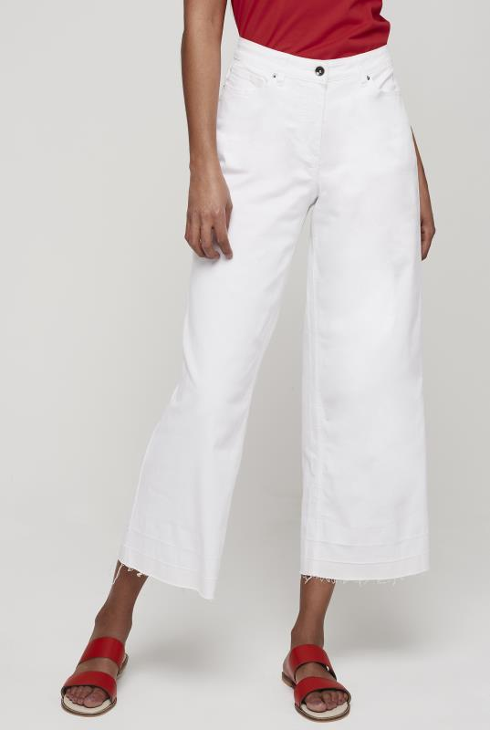 White Wide Leg Crop Jean