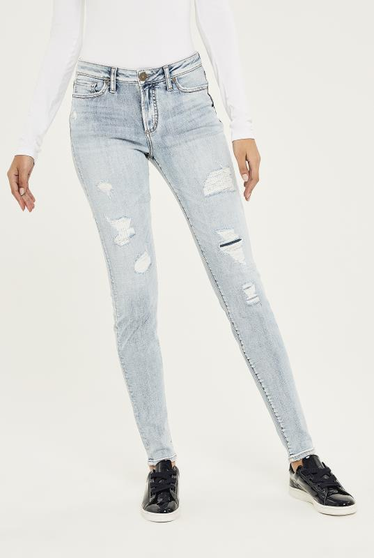 Tall Jeans SILVER Light Blue Wash Mazy Super Skinny Jean