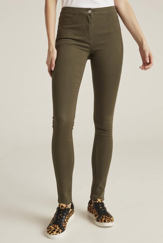 Khaki Green Skinny Stretch Denim Jeggings