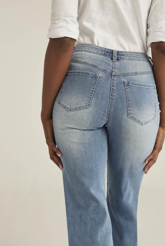 Blue Wide Leg Denim Jeans