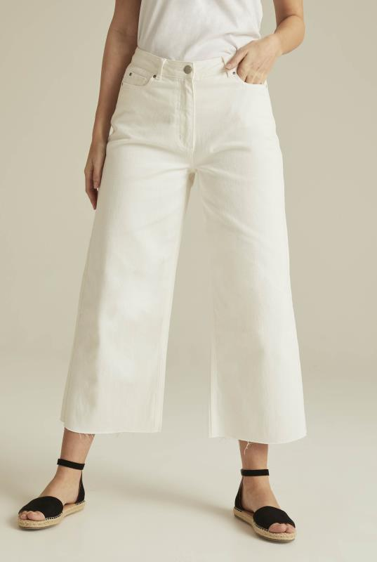 White Wide Leg Cropped Jeans