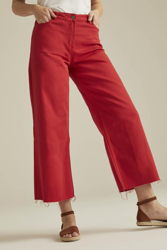 Red Wide Leg Cropped Jeans