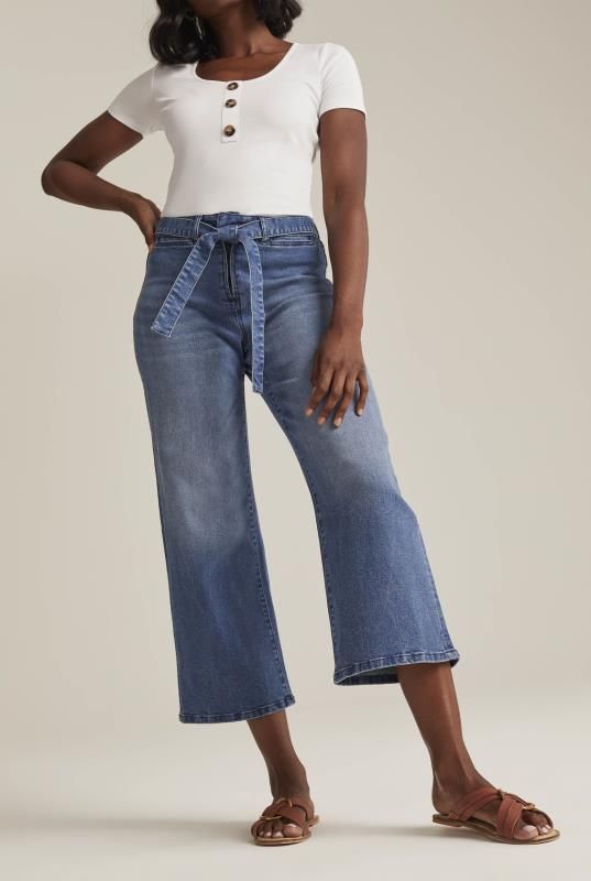Tall Jeans Tie Belt Wide Leg Denim Crop