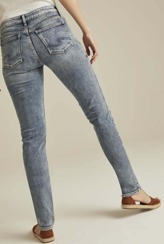 Silver Avery Mid Rise Slim Embroidered Jeans