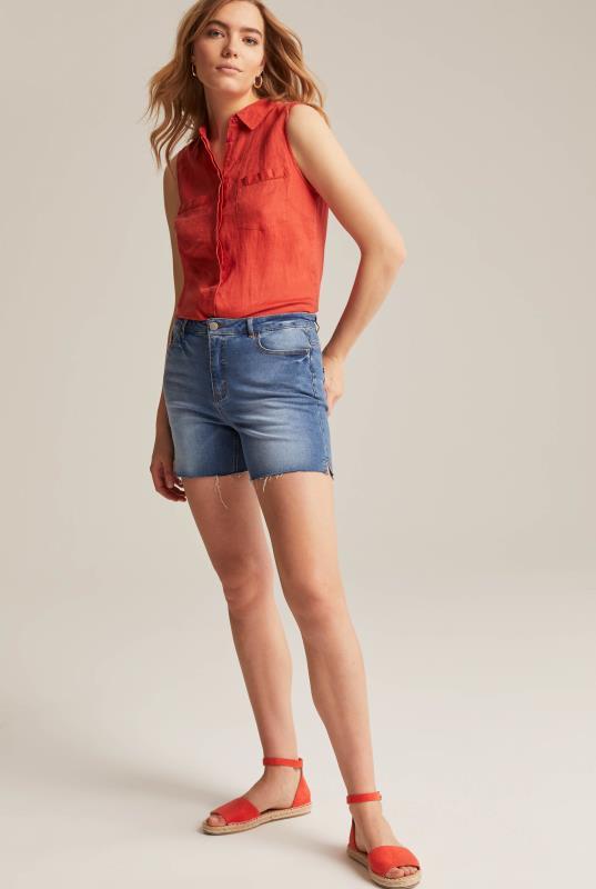 Blue Mid Denim Shorts