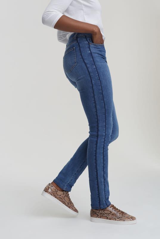 Mid Blue Side Stripe Slim Leg Jeans