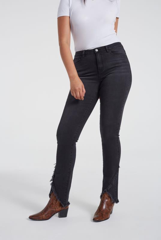 Washed Black Asymmetric Hem Slim Leg Jeans