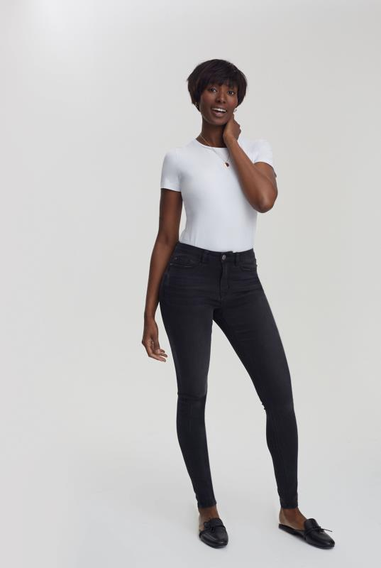 Black Skinny Mid Rise Jeans