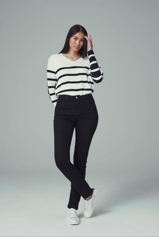 Black Slim Leg Mid Rise Jeans