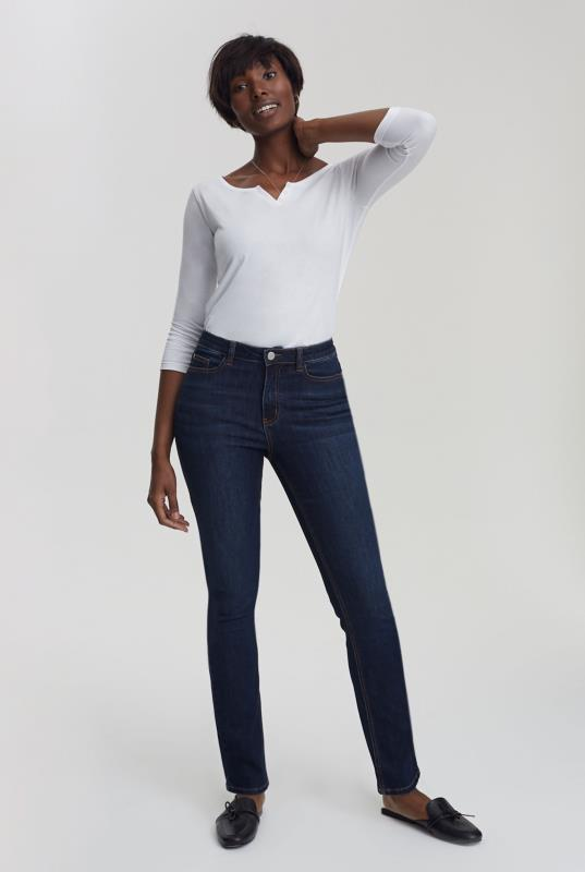 Ink Blue Slim Leg Mid Rise Jeans