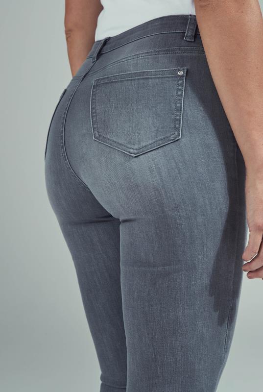 Grey Slim Leg Mid Rise Jeans