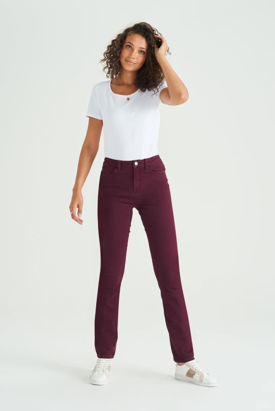 Tall Jeans Maroon Slim Leg Mid Rise Jeans