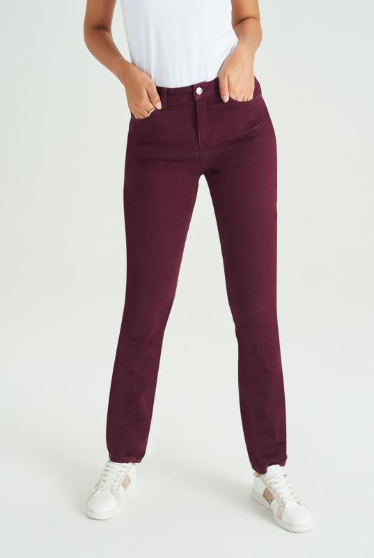 Maroon Slim Leg Mid Rise Jeans