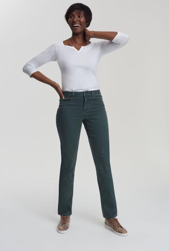Green Straight Leg Mid Rise Jeans