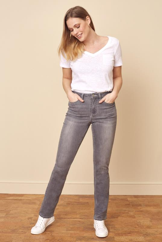 Grey Washed Straight Leg Mid Rise Jeans