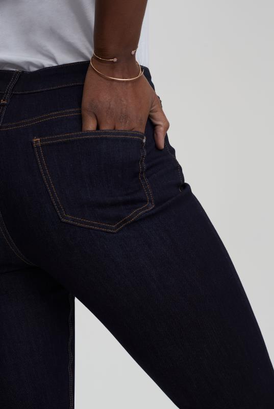 Dark Blue High Rise Straight Leg Jeans