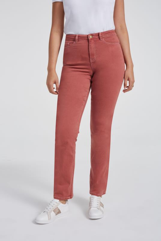 Coral High Rise Straight Leg Jeans