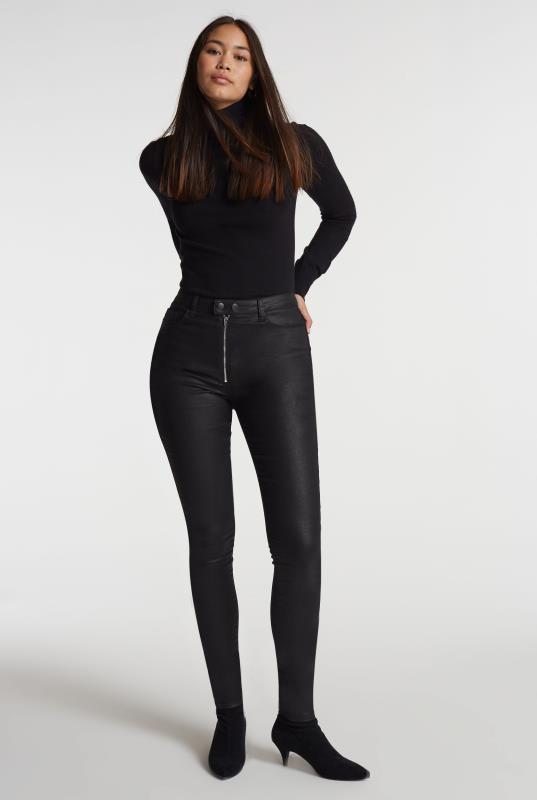 Coated Exposed Zip Skinny Jean