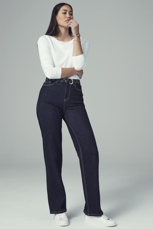 Indigo Blue Embroidered Belted Wide Jean