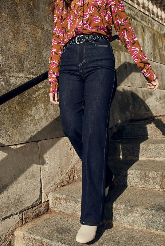 Embroidered Belted Slim Wide Jean