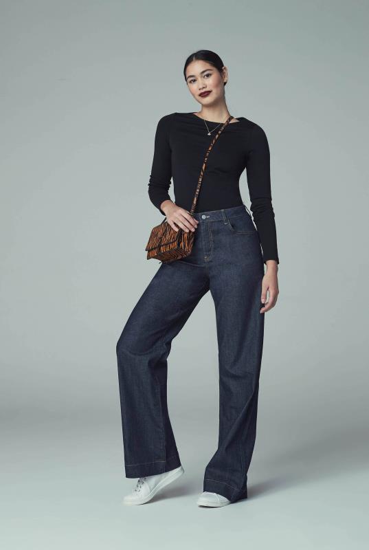 Indigo Blue Tailored Wide Leg Jeans