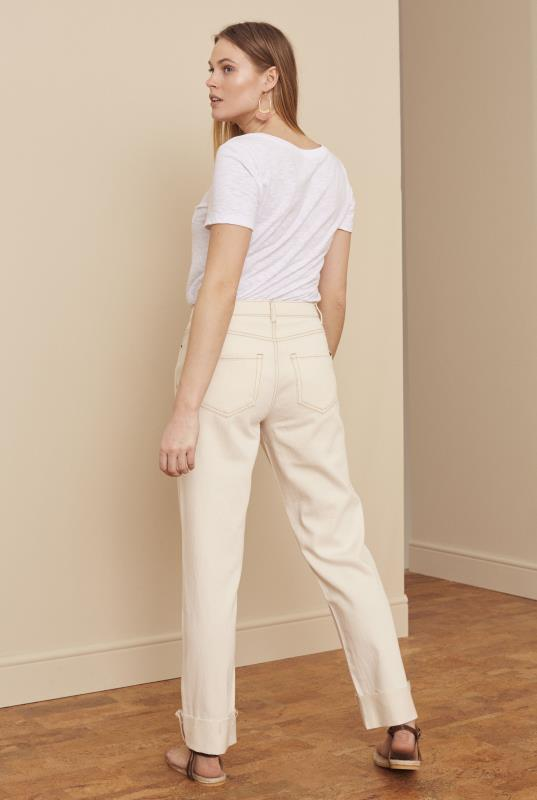 Cream Straight Leg Turn Up Hem Jeans