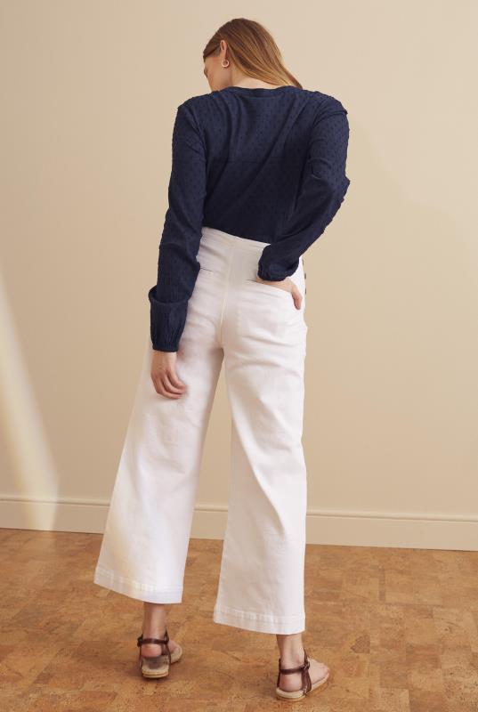 Tall Jeans White Sailor Button Wide Leg Crop Jean