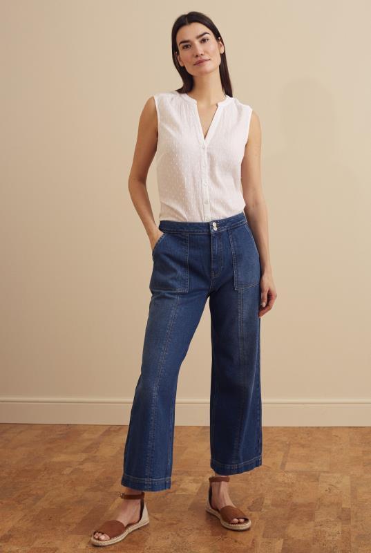 Blue Carpenter Wide Leg Crop Jean