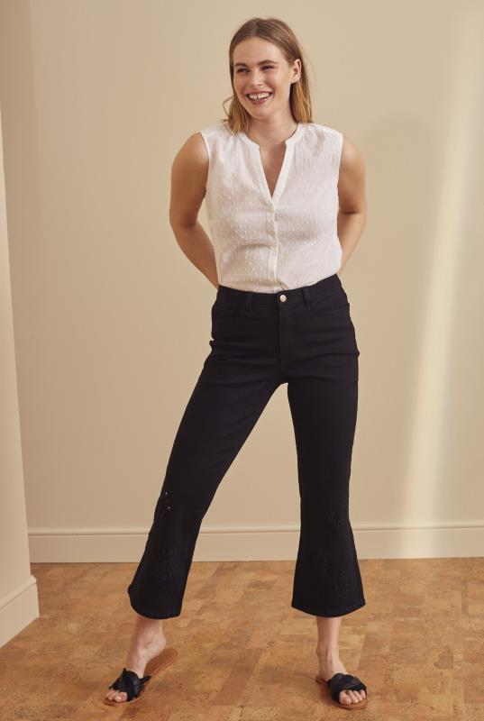 Tall Capris Black Embroidered Hem Cropped Jeans