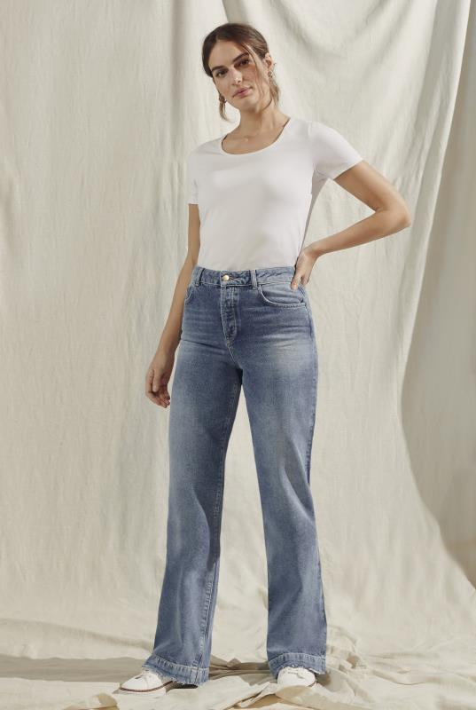 Blue Light Wash Wide Leg Jeans
