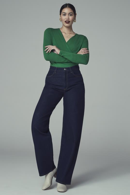 Tall Jeans Indigo Curved Outseam Wide Leg Jean
