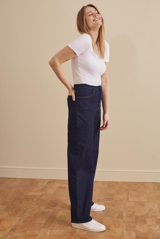 Curved Outseam Wide Leg Jean