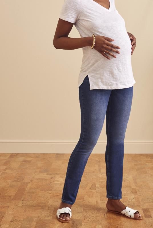 Tall Jeans Indigo Blue Maternity Slim Fit Jeans