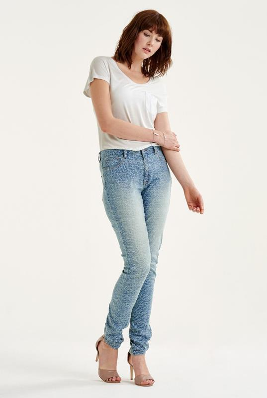 Blue Batik Print Slim Leg Jeans