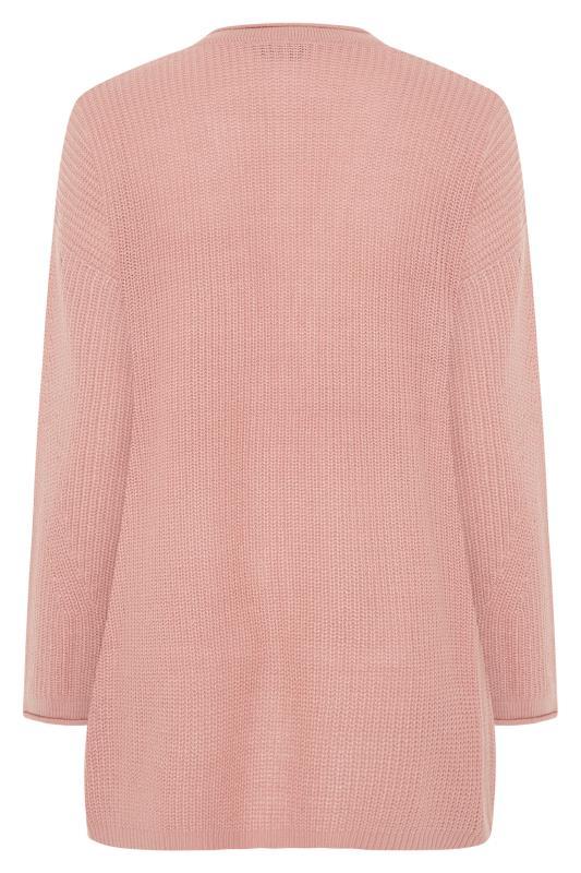 Dusky Pink Knitted Pointelle Cardigan_BK.jpg