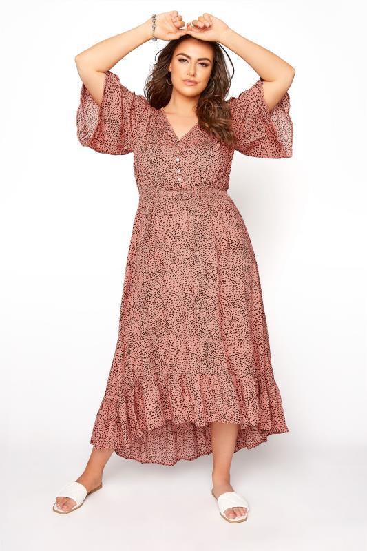 Pink Animal Print Dip Hem Midi Dress